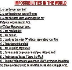 "You just realized you did most of the things on an ""impossibilities in the world list"""