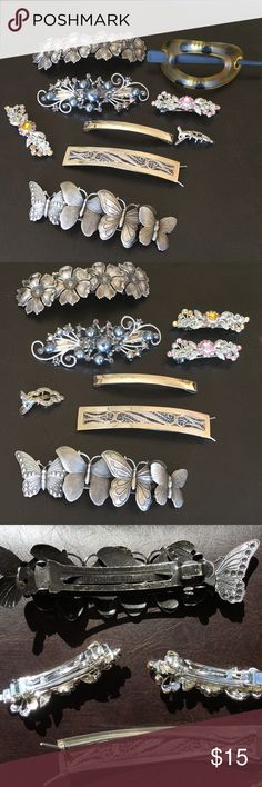 🌸BARRETTE BUNDLE ALL IN EXC WORKING CONDITION 🌸BARRETTE BUNDLE ALL IN EXC WORKING CONDITION TWO ARE STERLING SILVER, TWO FROM FRANCE, TWO LITTLE ONES NEVER USED. ALL 9 INTACT Vintage Accessories Hair Accessories