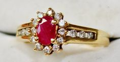 Vintage 10k Yellow Gold Red Ruby ring with by ForSaleOnEtsy, $99.49
