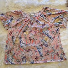Cathy Daniels Paris Themed Top Short sleeved pink Cathy Daniels top with a Paris theme. In good condition. No trades! Bundle and save 30%! Tops Blouses