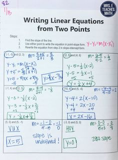 Equations of Lines INB Pages Writing Equations from Two Points Interactive Notebook Page Maths Algebra, Math Tutor, Math Teacher, Math Classroom, Teaching Math, Calculus, Future Classroom, Teacher Stuff, Professor