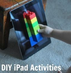 DIY ipad activities: patterning, block building and iSpy .it would be nice to have that kind of technology Toddler Activities, Learning Activities, Kids Learning, Tactile Activities, Early Childhood, Kids Playing, German Language, Japanese Language, Spanish Language