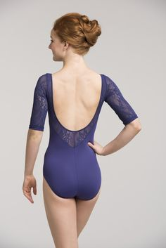 Celeste Leotard w/ Kara Lace ~ Your lovely lines are accentuated with Kara Lace sleeves and trim. So rich and textured! The Celeste has a shelf lining and elbow length sleeves. www.ainsliewear.com