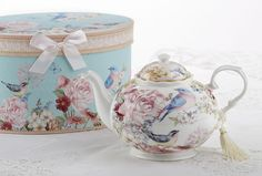 Blue Bird Porcelain Teapot in Gift Box - Roses And Teacups