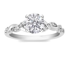Engagement Ring - Round Diamond Petite twisted pave band Engagement Ring in 14K White Gold  Perfection!