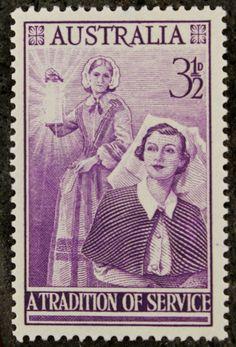 Nurse postage stamp from Australia circa 1955, upcycled into cufflinks