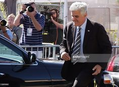 Jay Leno leaves the Santa Barbara County Courthouse following defense testimony in Michael Jackson's child molestation trial May 24, 2005 in Santa Maria, California. Jackson is charged in a 10-count indictment that included molesting a boy, plying him with liquor and conspiring to commit child abduction, false imprisonment and extortion.