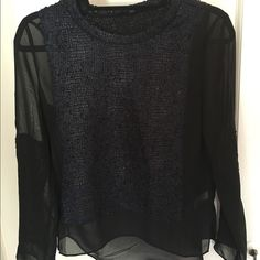 Arynk sheer dark blue top Dark blue sheer top. Has snake/alligator texture on part of front, back, and sleeves of shirt. Perfect condition. Only worn once. Looks good with white or grey jeans. True to size. Willing to model! Arynk Tops Blouses