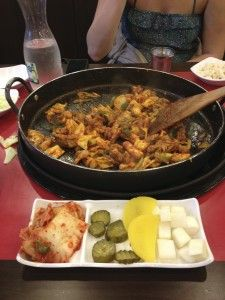 Chicken galbi (Dak-Galbi in Korean) is a mix of chicken and vegetables that you stir-fry in a delicious red chili pepper sauce called gochujang.