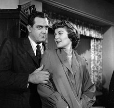 Raymond Burr and Barbara Hale Episode 'Case of the GreenEyed Sister' Image dated November 22 1957