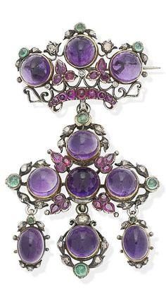A late 19th century gem-set brooch