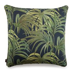 PALMERAL Large Linen Cushion Midnight / Green