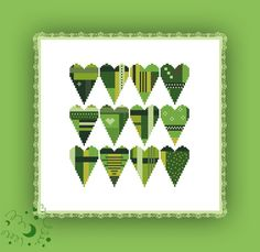 Stickvorlage farbig Kreuzstich sticken Stickmuster Herzen grün