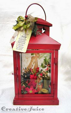 Creative Juice: Christmas Nativity Lantern using Tim Holtz, Ranger, Sizzix and Stamper's Anonymous products; Dec 2014