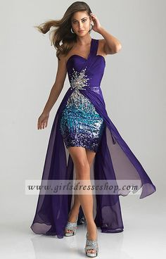 Homecoming High And Low One Shoulder Night Moves 6668 Purple Dresses