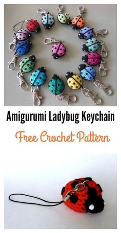 crochet toys ideas Free Amigurumi Ladybug Keychain Crochet Pattern - This Free Amigurumi Ladybug Keychain Crochet Pattern are great to create ladybugs to decorate keychains. This stuffed ladybug could be work up quickly.Modello a crochet con portachi Marque-pages Au Crochet, Crochet Mignon, Crochet Keychain Pattern, Crochet Amigurumi Free Patterns, Crochet Bookmarks, Crochet Motifs, Love Crochet, Crochet Gifts, Beautiful Crochet