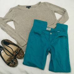 Aeropostale Ashley teal skinny jeans Aeropostale Ashley teal super skinny jeans. Great condition, ankle length. See style tag for details. All items in photo are available for purchase -- bundle to buy the whole outfit and save 10%! Aeropostale Jeans