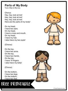 Parts of My Body Song May contain affiliate links - Body Parts Preschool Poems, Body Preschool, Preschool Music, Preschool Lessons, Preschool Classroom, Preschool Learning, Listening Activities, Body Parts Preschool Activities, Preschool Printables