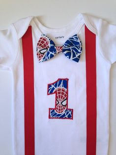 9aa2fc99 Spiderman First Birthday Onesie Boys 1st Birthday by SweetTootsy