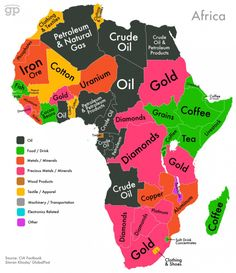 World Commodities Map: Africa Sums up why there is a lot of conflict, so many natural resources. The exploiter's view of Africa. Teaching Geography, World Geography, Geography Classroom, Geography Map, Geography Quotes, Geography Revision, Geography Worksheets, Ap Human Geography, Geography Activities