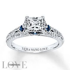 Vera Wang LOVE Engagement Ring 1 ct tw Diamonds 14K White Gold This is PERFECT! No halo and with the blue!!!LOVE IT!!