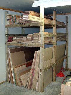 Workshop Design, Workshop Storage, Workshop Organization, Garage Workshop, Lumber Storage Rack, Lumber Rack, Garage Storage Shelves, Plywood Storage, Wood Rack