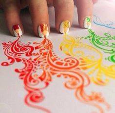 Pencil Nail design! its so cool! not only the nails but the drawing too