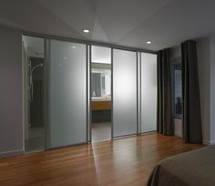 Sliding Glass Door Design Parade for Your Modern Home: Frosted Glass Sliding Doors Separate The Contemporary Bedroom From The Sleek Bathroom Equipped With Blurring Sliding Door Design ~ FreeSharing Furniture Inspiration Modern Bedroom, Contemporary Bedroom, Modern Bathroom Design, Sleek Bathroom, Interior Barn Doors, Door Design, Sliding Glass Door, Door Glass Design, Bathroom Design