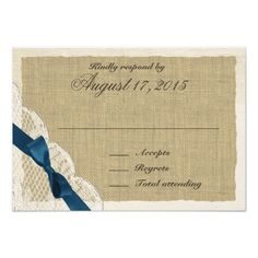 Outdoor Wedding RSVP Lace and Navy Bow Country Response Card