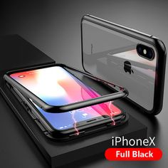 Bakeey Upgraded Version Magnetic Adsorption Metal Clear Glass Protective Case for iPhone X Magnetic Frames, Protective Cases, Clear Glass, Magnets, Iphone Cases, Apple, Metal, Full Body, Cover