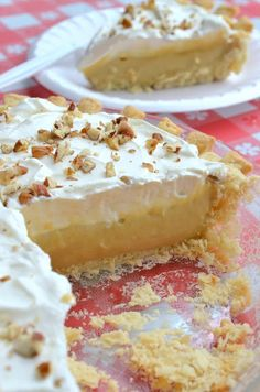 Butterscotch Pie. Homemade Butterscotch filling, whipped cream, topped with chopped pecans - YUM