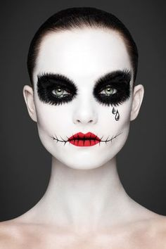 """You've Never Seen Makeup Like This Before #refinery29 http://www.refinery29.com/andrew-gallimore-rankin-beauty-book#slide-7 Skeletons """"I'd worked with Rankin on a BBC documentary and exhibition called """"Alive [in the Face of Death],"""" which was a manner of exploring death. We'd done death-mask makeup as self-portraits, but then we decided to do them on models as a series. She is one of those. The others were quite dark, with a black base and decorated on top for a skull formation. But, she ..."""
