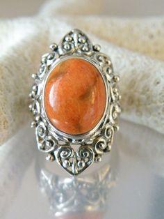 Vintage Antique Style Sterling Silver Orange Coral Knuckle Filigree Ring Size 5 #NK #Cocktail