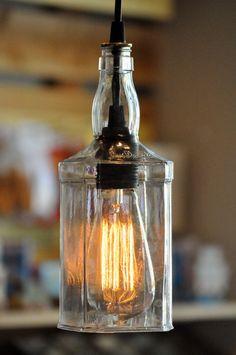 Jack Daniels bottle recycled glass lamp pendant edison bulb