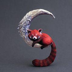 Cute baby red panda sculpture animal figurine OOAK cute