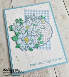 Note for me, see how colour has been picked to draw it altogether. Lovely Lattice – Stampin with Shirley G Spring Books, Birthday Cards For Women, Stampin Up Catalog, Card Maker, Stamping Up, Flower Cards, Stampin Up Cards, Note Cards, Making Ideas