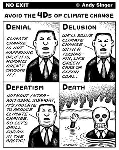 4Ds of Climate Change © Andy Singer,Politicalcartoons.com,climate,change,greenhouse,effect,gas,gasses,gases,global,warming,carbon,co2,emission,emissions,environment,environmental,regulation,regulations,oil,petroleum,energy,drilling,drills,drillers,companies,denial,delusion,defeatism,death,green,car,cars