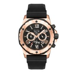 Men's Bulova Marine Star Chronograph Rose-Tone Strap Watch with Black Dial (Model: 98B104) | View All Jewellery | Peoples Jewellers