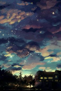 Clouds like a blanket of darkness composition photo, anime scenery wallpaper, anime backgrounds wallpapers Fantasy Landscape, Landscape Art, Fantasy Art, Composition Photo, L Wallpaper, Anime Scenery Wallpaper, Aesthetic Art, Aesthetic Wallpapers, Amazing Art