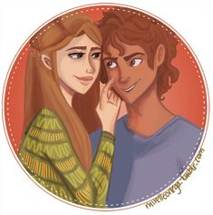 Calypso & Leo by -MirelleOrtega I should not be doing this @_@ - don't tell anyone I'm neglecting my obligations to paint cute portraits of caleo. Explanation and original sketch here (x).