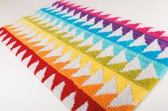 Block bath rug. 100% cotton