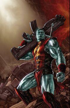 Colossus by Lee Bermejo (Marvel comics) Comic Book Characters, Comic Book Heroes, Marvel Characters, Comic Character, Comic Books Art, Comic Art, Ms Marvel, Marvel Heroes, Comics Anime