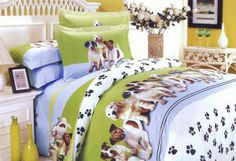 Dog Themed Bedroom | Puppy Dog Themed Kids Bedding features adorable puppies of several dog ...