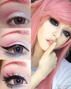 "Strange Potatoes. (@tsuincos_) on Instagram: ""Here's my yuno gasai eye makeup tutorial y'all requested! Contacts are from @pinkyparadisedotcom…"""
