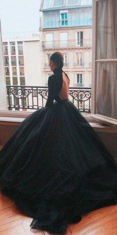 Gothic Wedding Dresses: Challenging Traditions ★ gothic wedding dresses ball gown simple modern low back high neckline long sleeves mark bumgarner