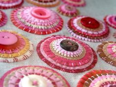 pink felt circles with buttons