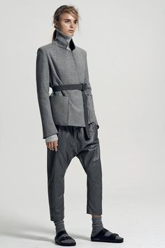 double face tailored jacket | turtle neck knit | relaxed leather pant