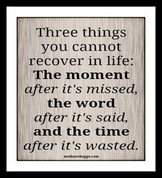 Three things you cannot recover in life: The moment after it`s missed, the word after it`s said, and the time after it`s wasted.