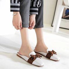 [leggycozy] Preppy Fashion Big Bowknot PU Leather Flat Mules Shoes Preppy Fashion, Preppy Style, Leather Flats, Pu Leather, Mules Shoes Flat, Kawaii Shoes, Types Of Shoes, Slippers, Big