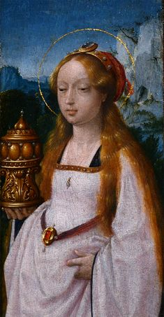 Jan Provoost (1462 - 1529) - Triptych with the Virgin and Child, Saint John the Evangelist and Mary Magdalen. Detail.